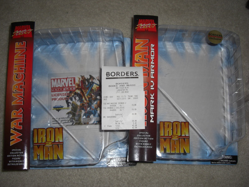 Marvel select borders exclusive war machine out of box for Exclusive bordering