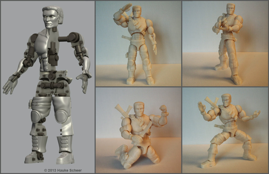 construction 3d printed action figure by hauke