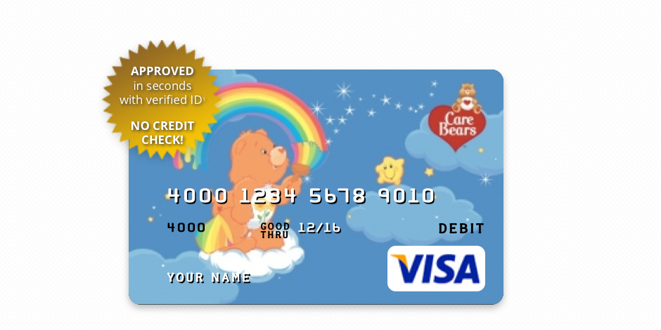 Care Bears Pre Paid Visa Card