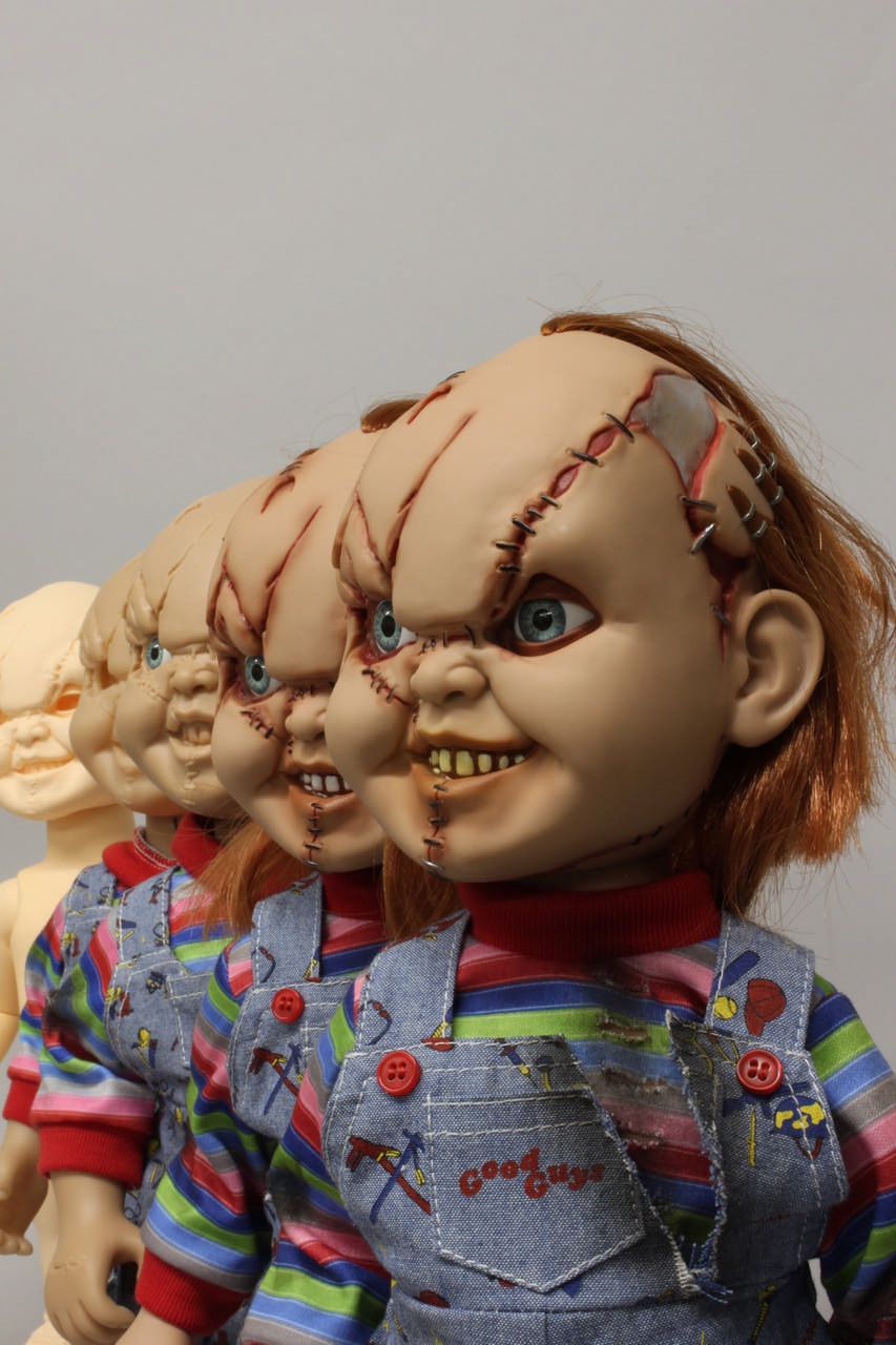 Mezco's Mega Chucky at different stages of development, there are 179 differences between the 5 dolls shown.