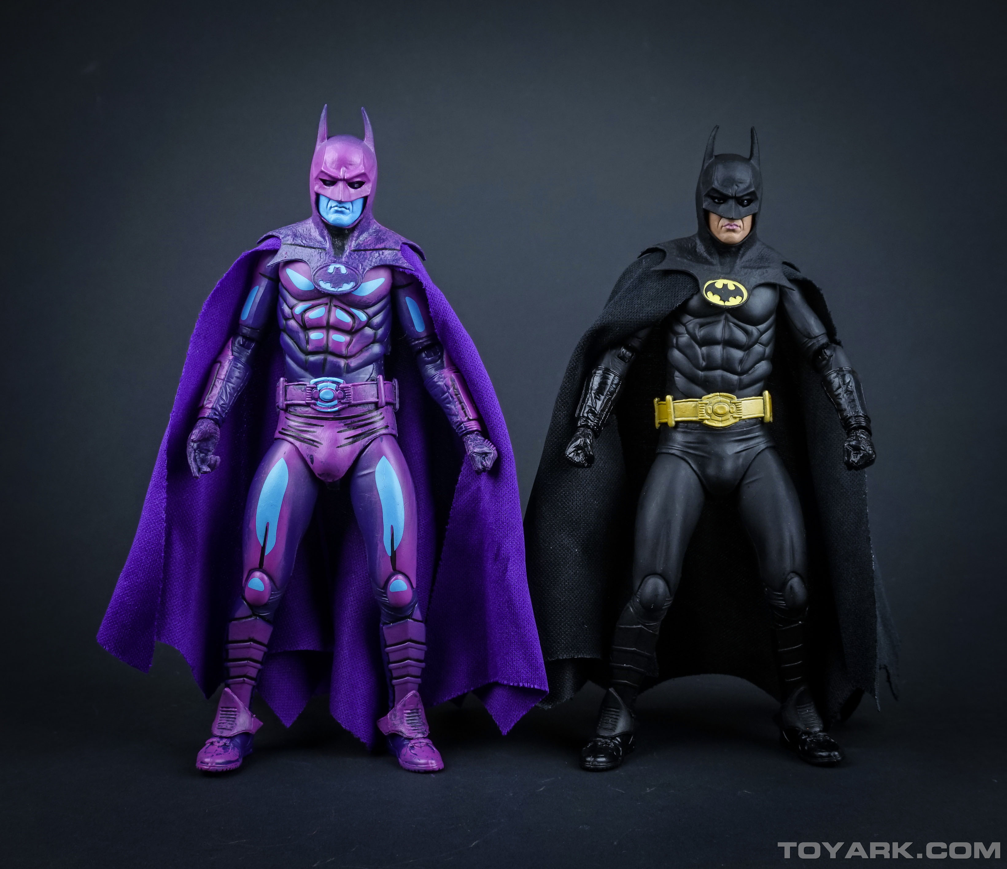 Batman and his video game counterpart.