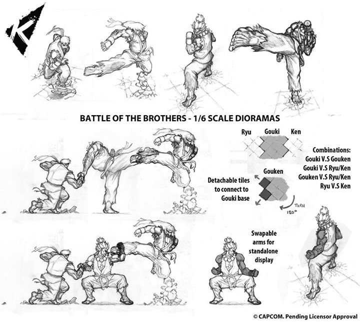 Street Fighter Battle Of The Brothers Dioramas By Kinetiquettes