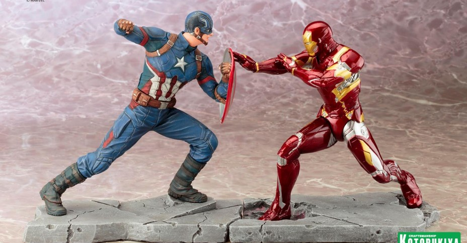 Koto ARTFX Civil War Iron Man vs Captain America 001
