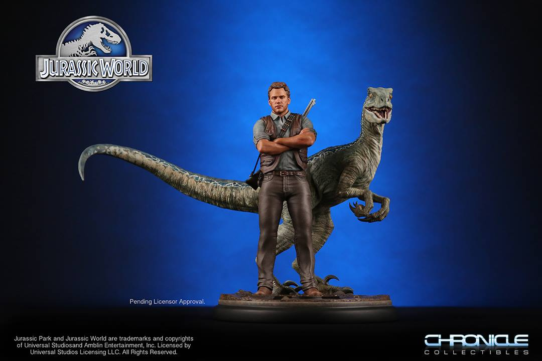 chronicle collectibles jurassic world 1 9 scale owen and blue raptor