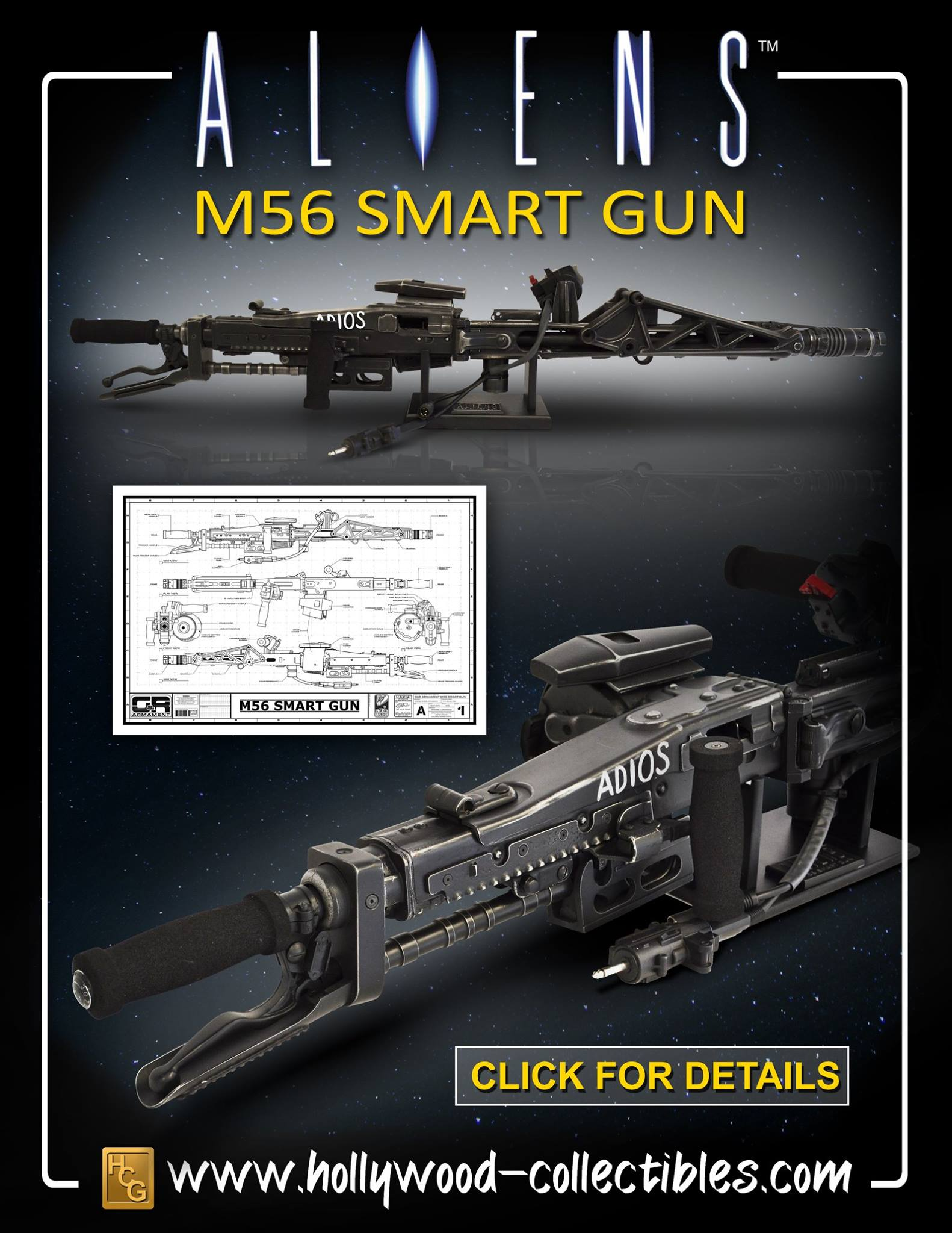 Hcg Aliens Life Size M56 Smartgun Prop Replica The
