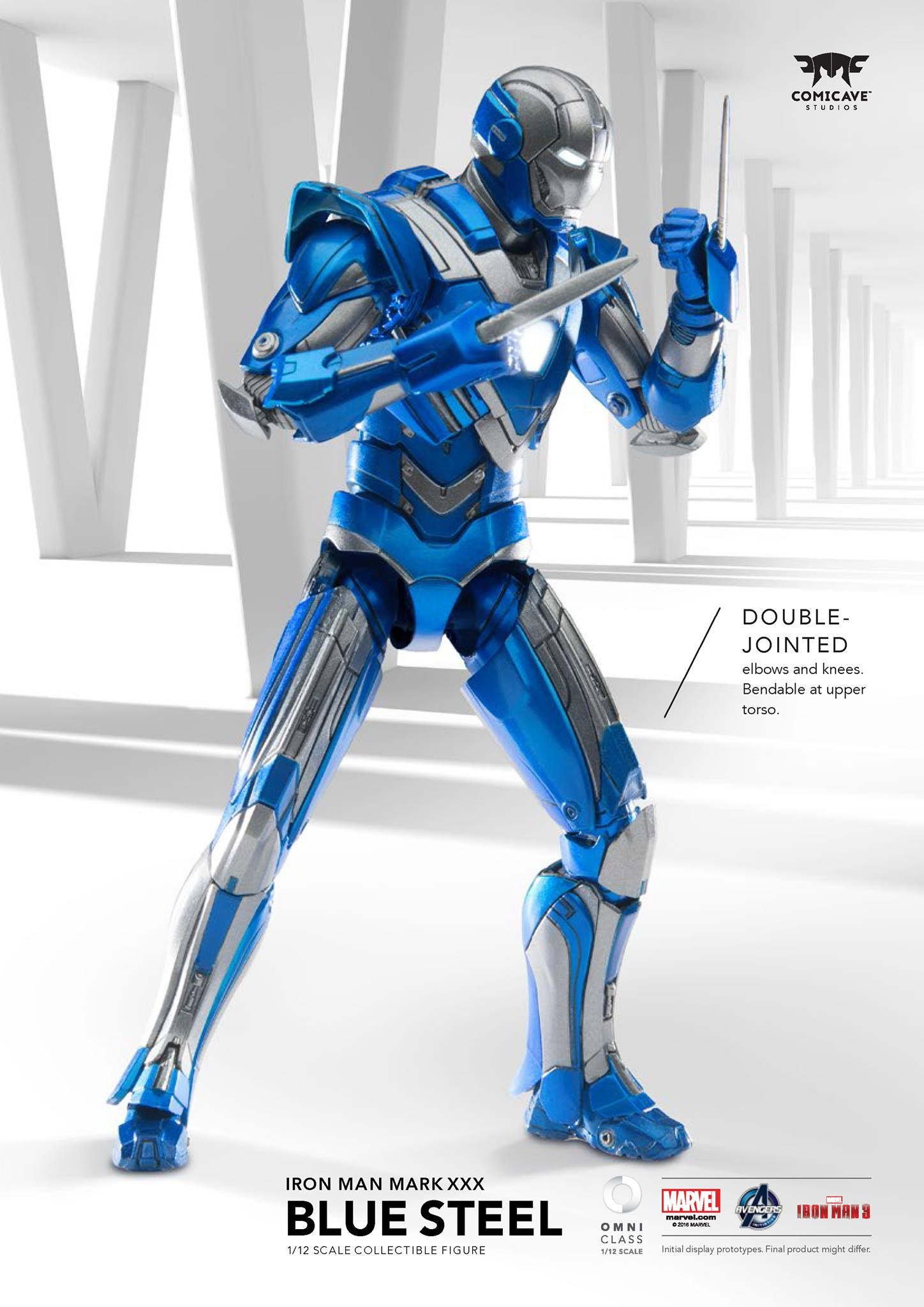 Comicave 1//12 Mark 30 Iron Man LED Light Action Figure Blue Model Toy Collection