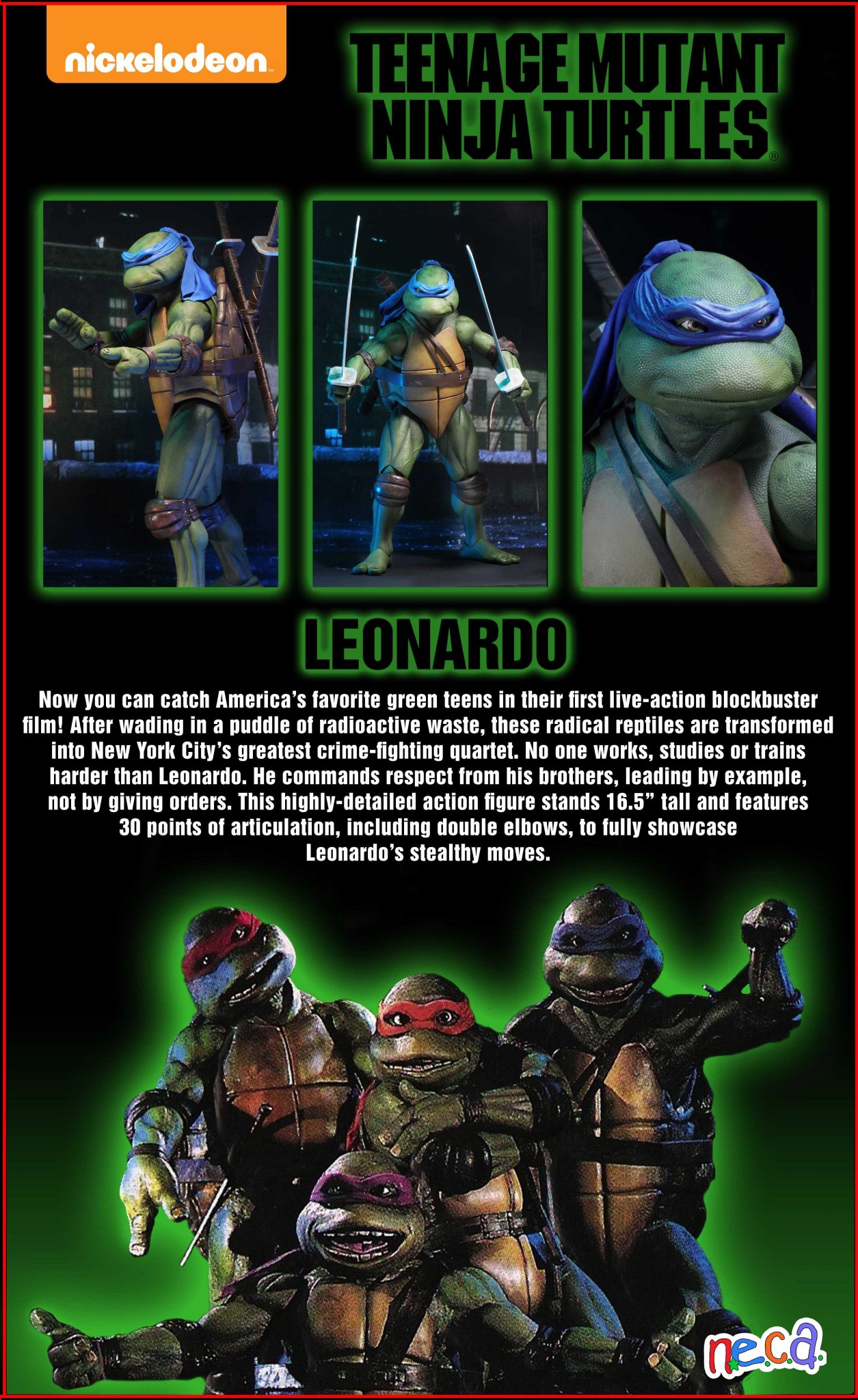 TMNT 1990 Leonardo Packaging Preview by NECA - The Toyark ...