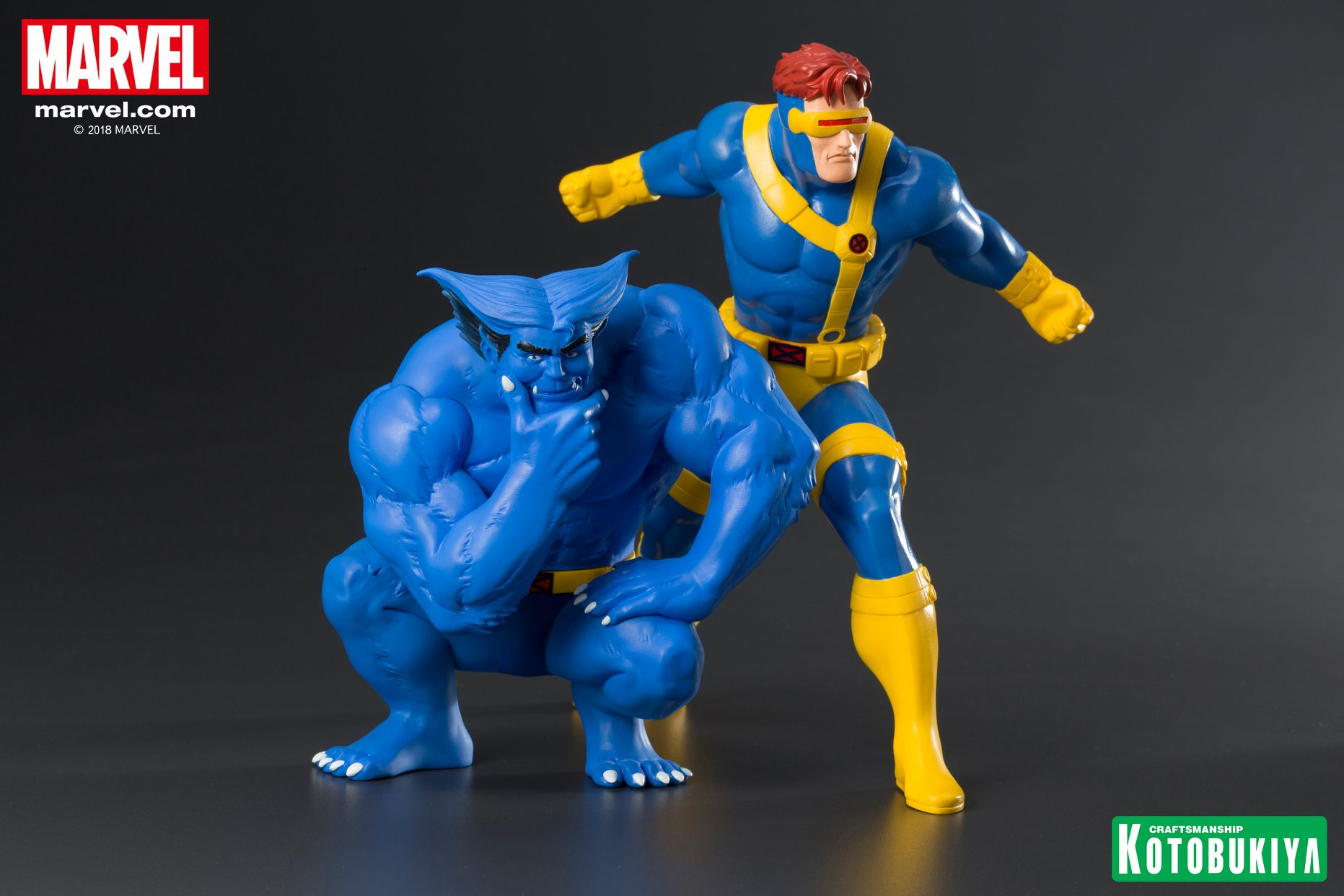 X Men Cartoon Beast And Cyclops Statue 2 Pack By