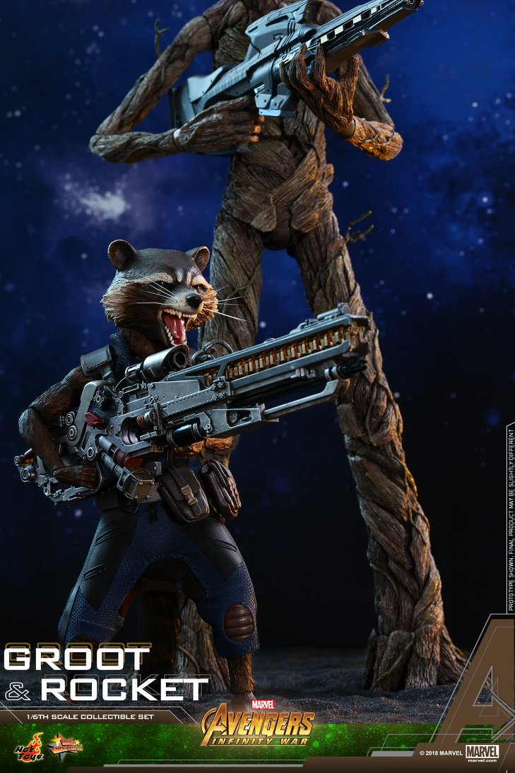 avengers infinity war rocket and groot figures by hot