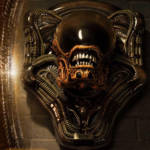 Dog Alien Wall Trophy Closed Mouth 007
