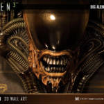 Dog Alien Wall Trophy Closed Mouth 024