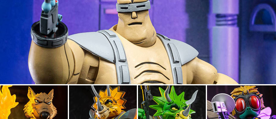 TMNT Carton Series - Ultimate Krang Android Body, Zarax and Zork Set, and the Splinter and Baxter Stockman Set by NECA - Toyark Photo Shoot