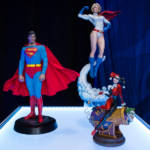 DC Sideshow Podium with Superman The Movie Sixth Scale Power Girl Premium Format Figure and Harley Quinn and The Joker Diorama